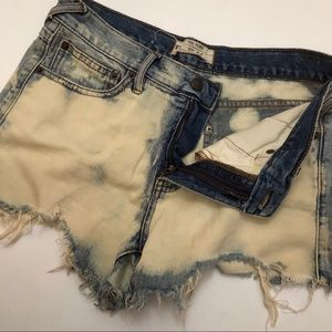 Free People Bleach Wash Jean Short Mini Mid Rise